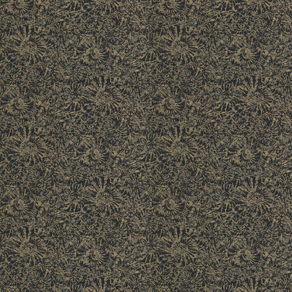 Ammonite Wallpaper - Charcoal / Brass - by Anthology