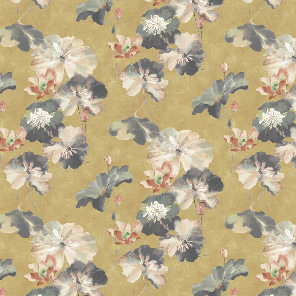 Water Lilies Wallpaper - Honey - by 1838 Wallcoverings