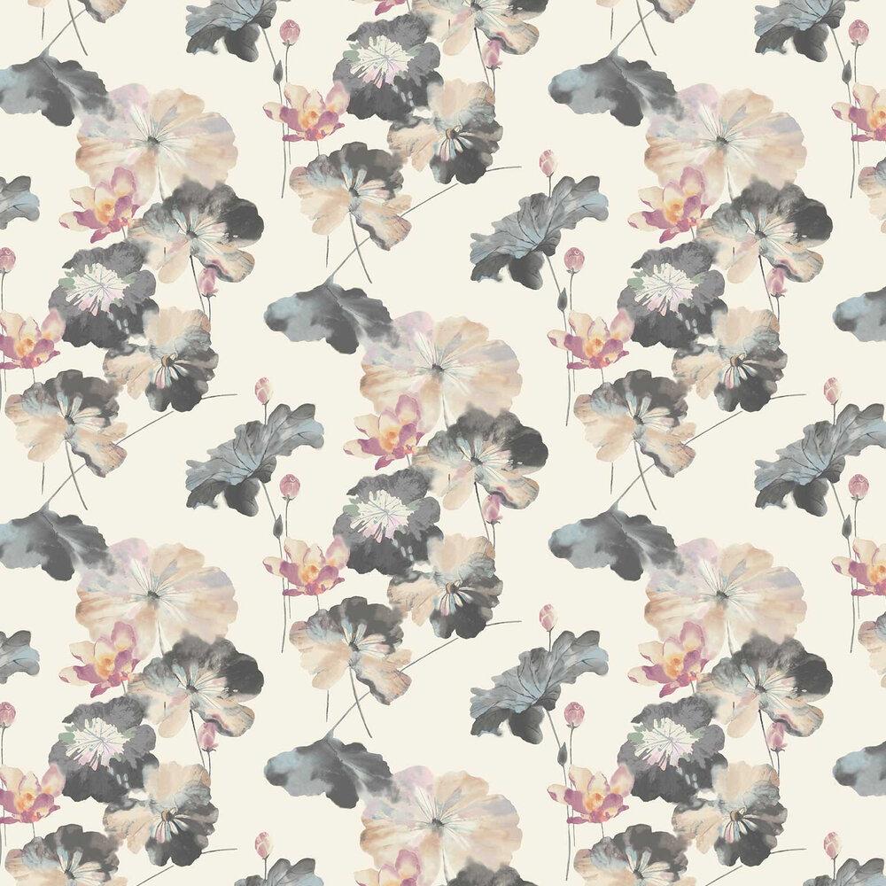 Water Lilies Grasscloth Wallpaper - Bracken - by 1838 Wallcoverings