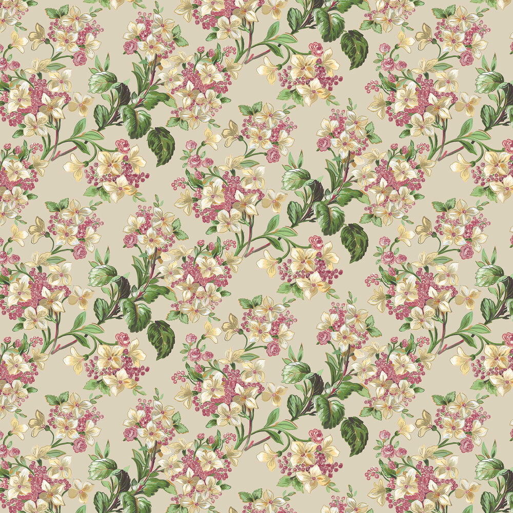 Flowery Wallpaper - Beige - by Coordonne