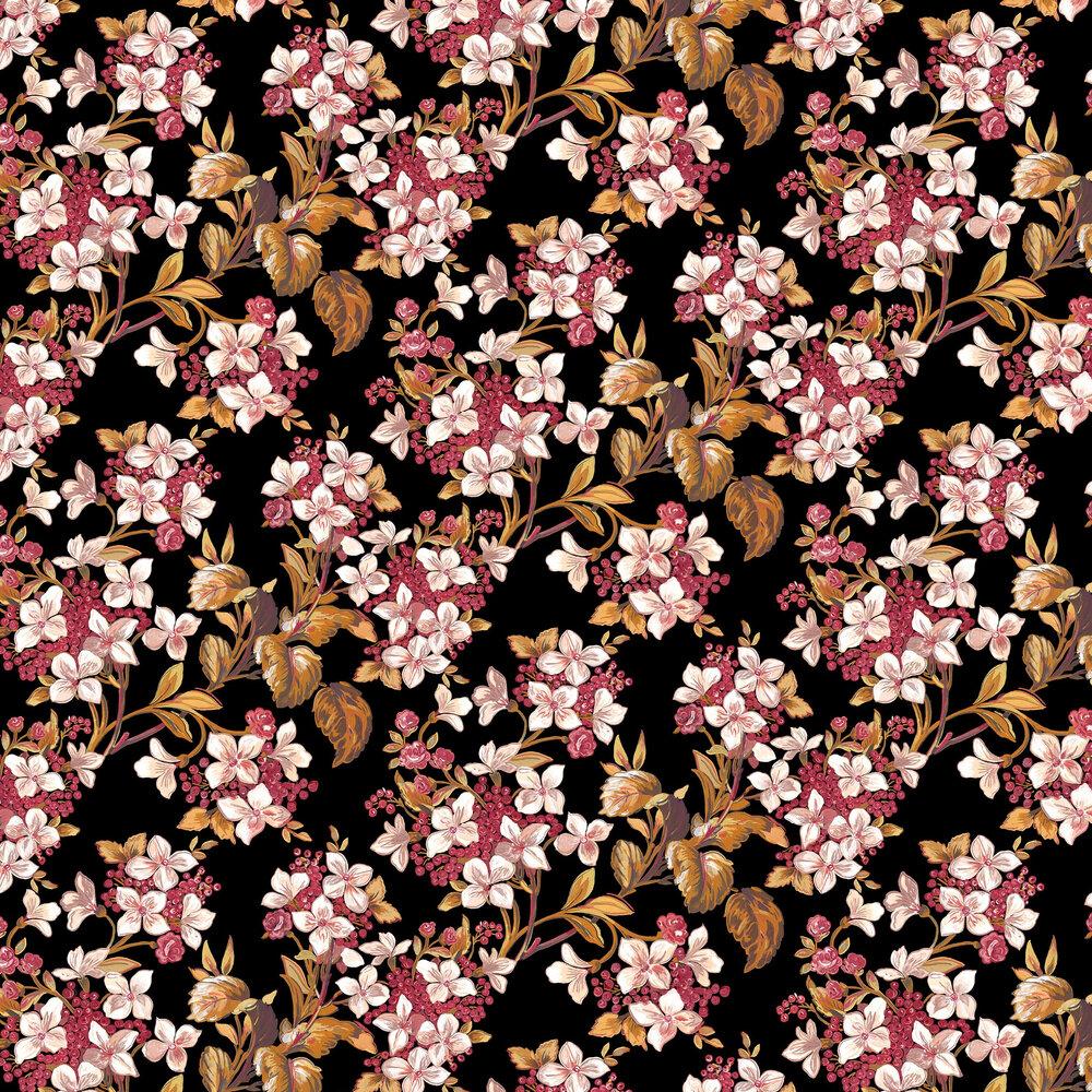 Flowery Wallpaper - Black - by Coordonne