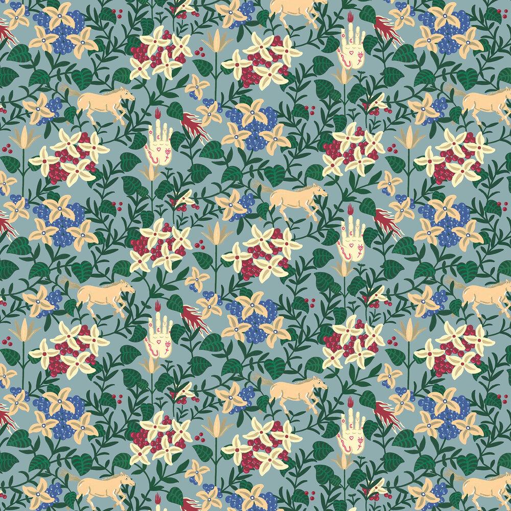 Neo-Flowery Wallpaper - Blue - by Coordonne