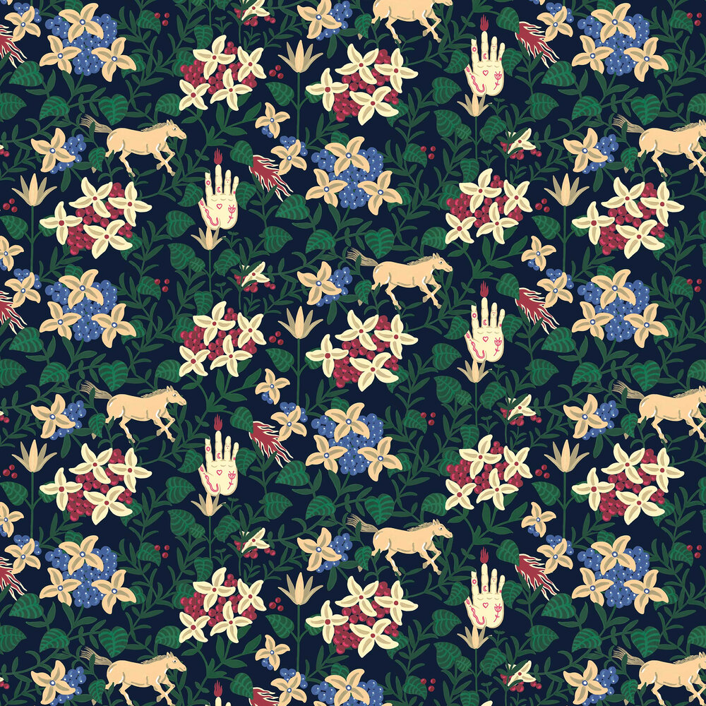 Neo-Flowery Wallpaper - Navy - by Coordonne