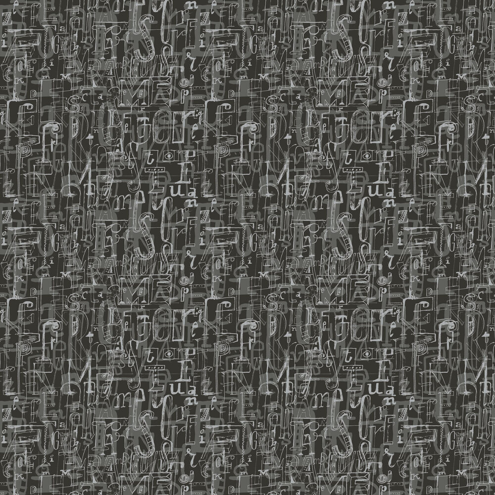 001 Lletres Wallpaper - Black - by Tres Tintas