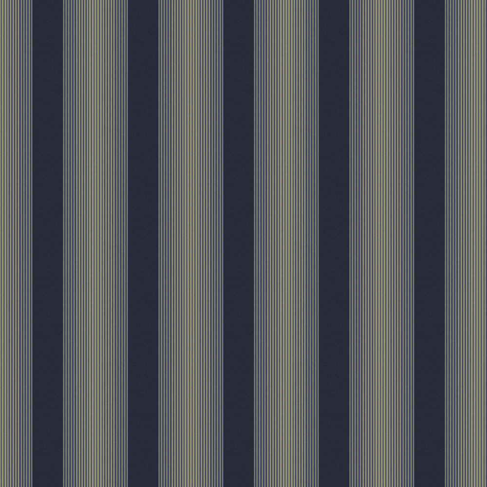 Lagom Stripe Wallpaper - Navy / Gold - by Graham & Brown