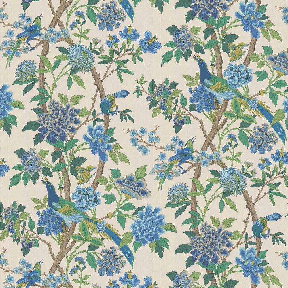 G P & J Baker Hydrangea Bird Emerald / Blue Wallpaper - Product code: BW45091/1