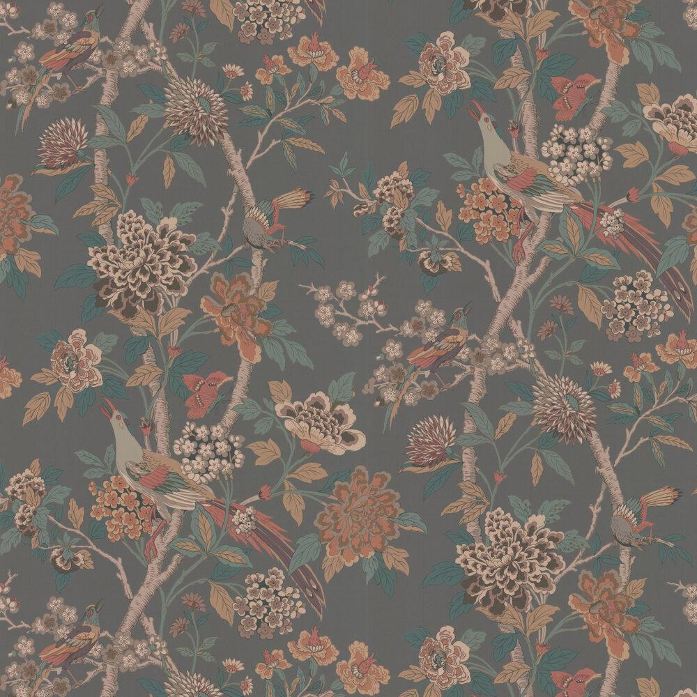 Hydrangea Bird Wallpaper - Charcoal / Sienna - by G P & J Baker