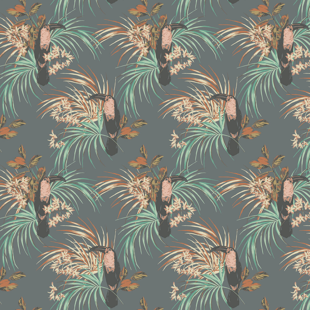 Le Toucan Wallpaper - Charcoal - by 1838 Wallcoverings
