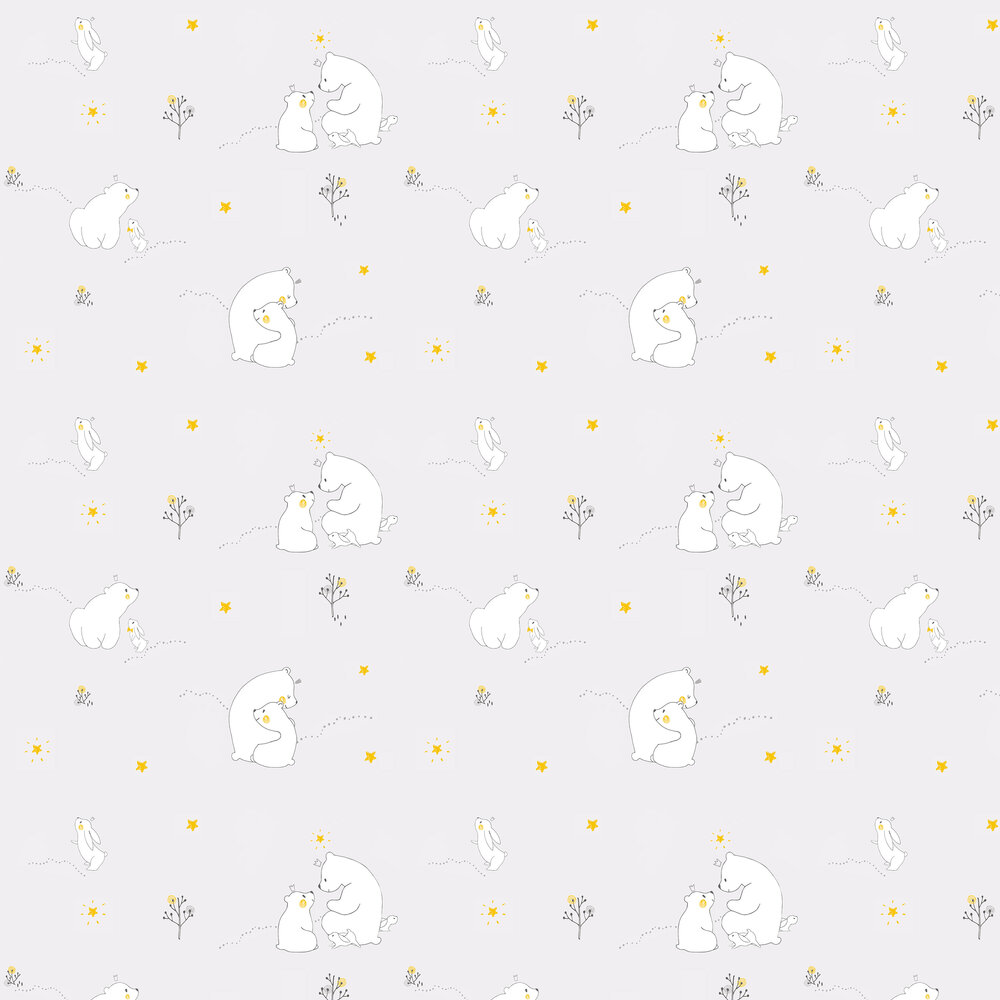 Mummy Bear and Baby Bear Wallpaper - Grey - by Galerie