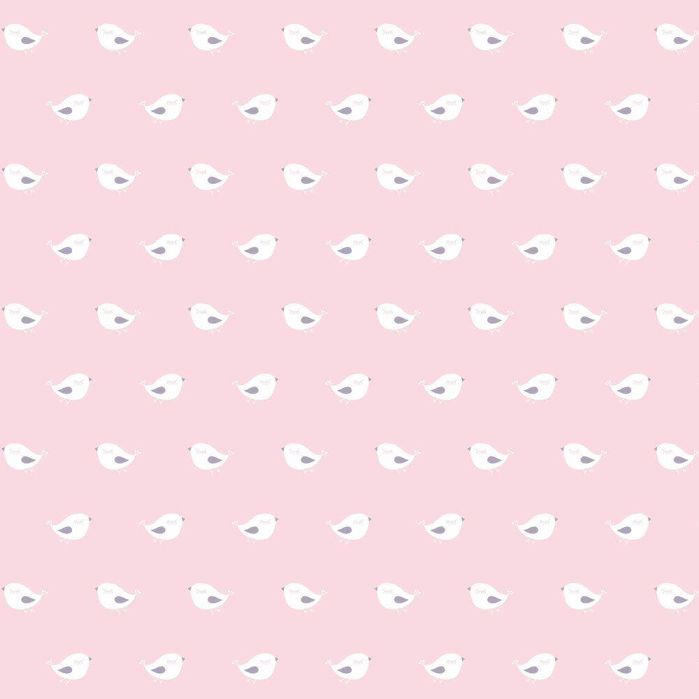 Sleepy Birdy Wallpaper - Pink - by Galerie