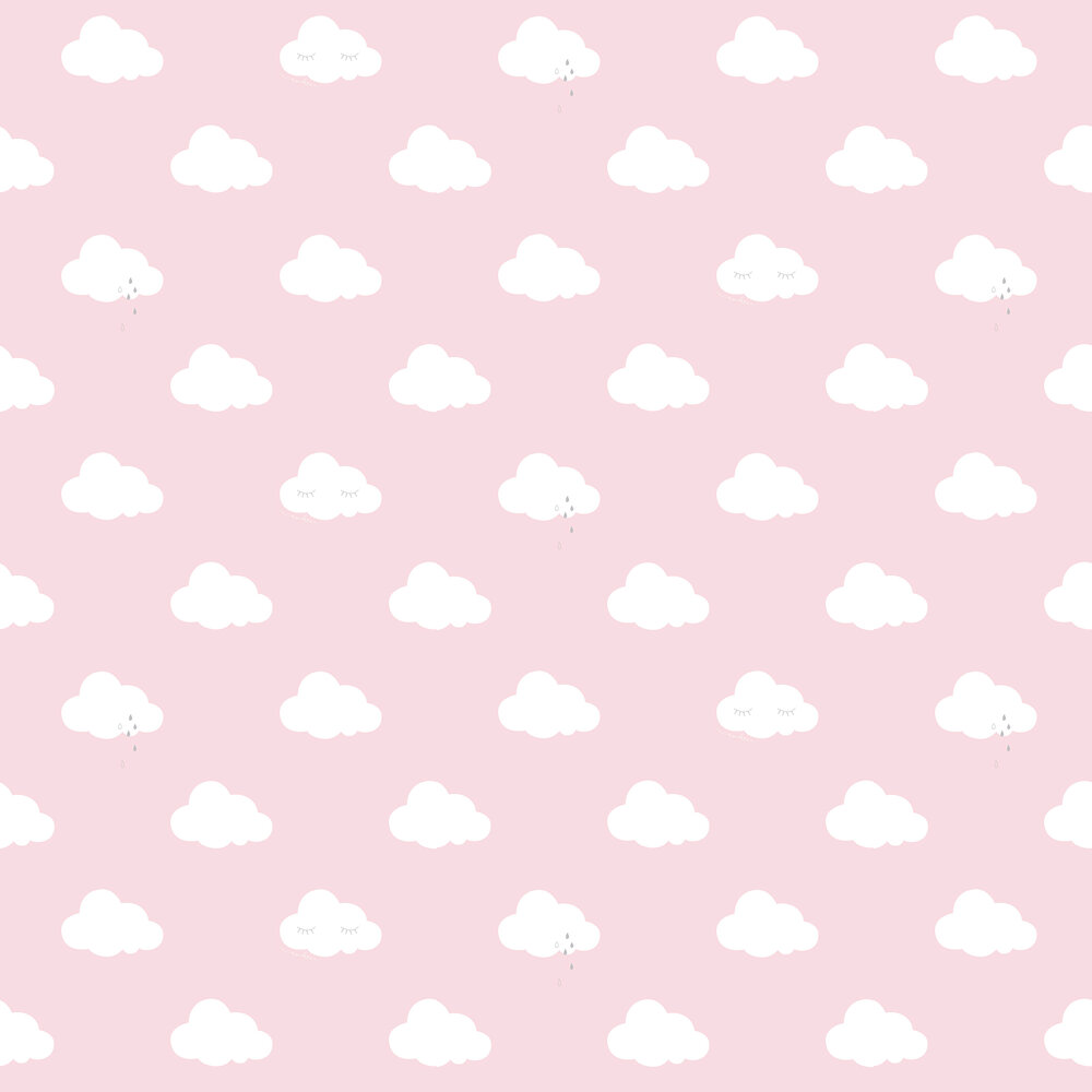 Sleepy Clouds Wallpaper - Pink - by Galerie
