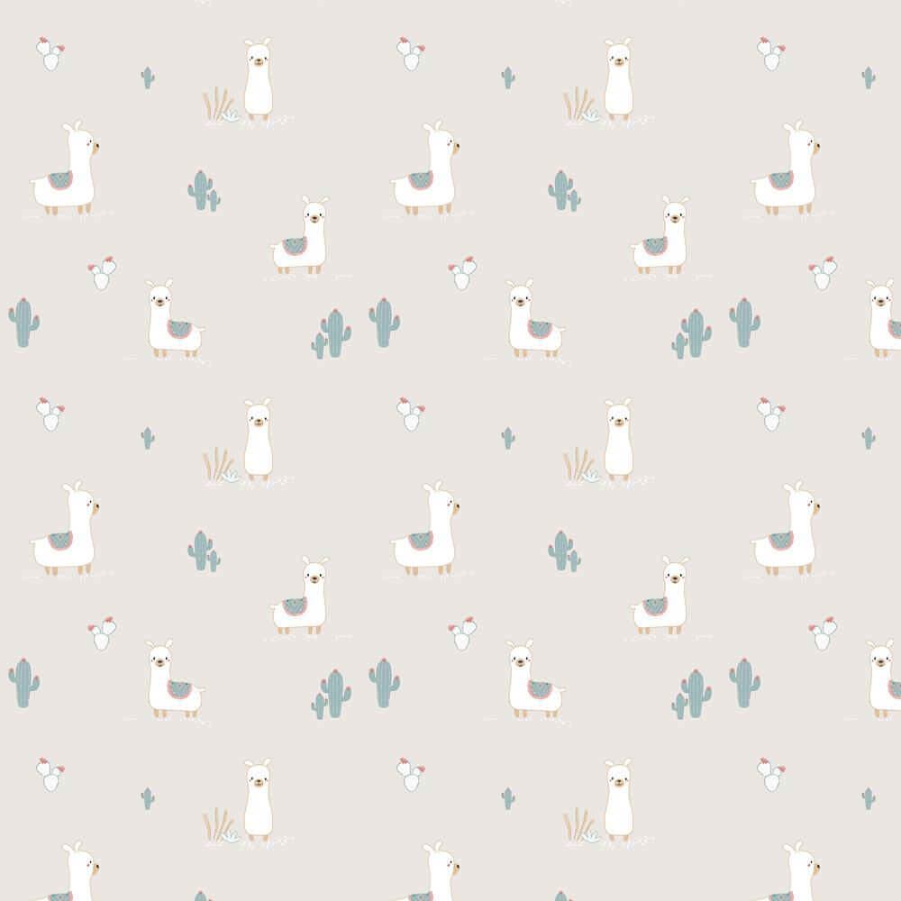 Happy Llamas Wallpaper - Grey - by Galerie