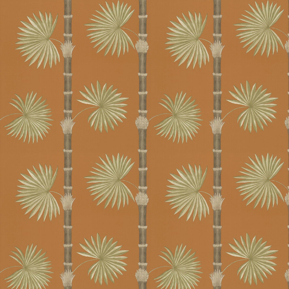 Hardy Palm Wallpaper - Burnt Orange - by Paint & Paper Library