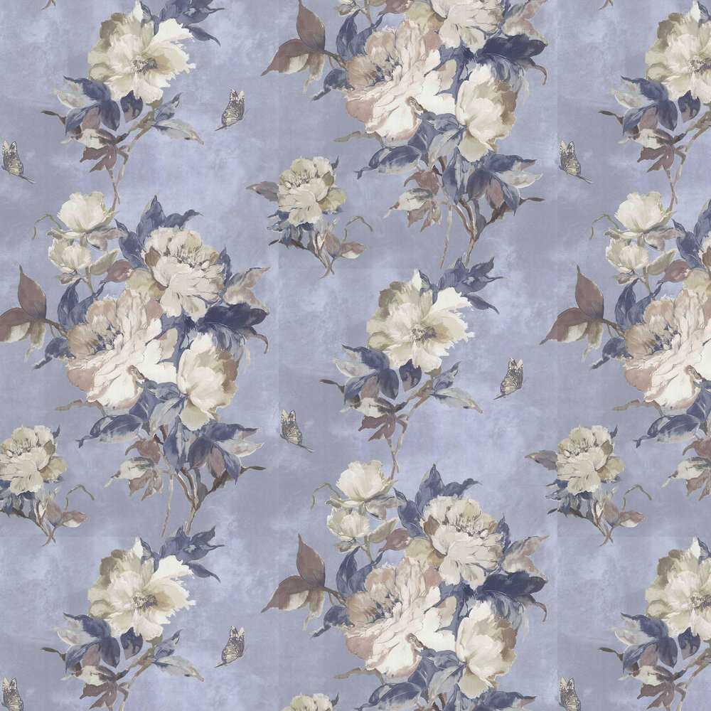 Madama Butterfly Wallpaper - Denim  - by 1838 Wallcoverings