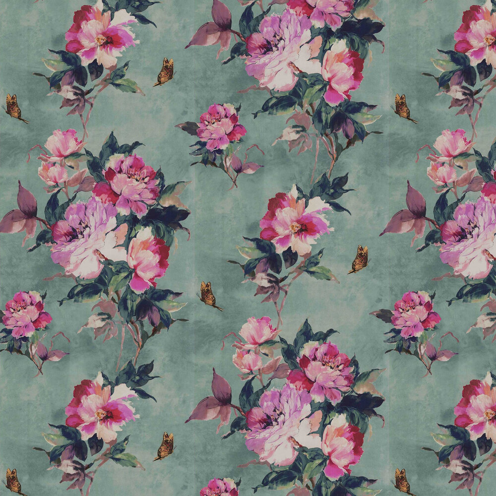 Madama Butterfly Wallpaper - Teal - by 1838 Wallcoverings