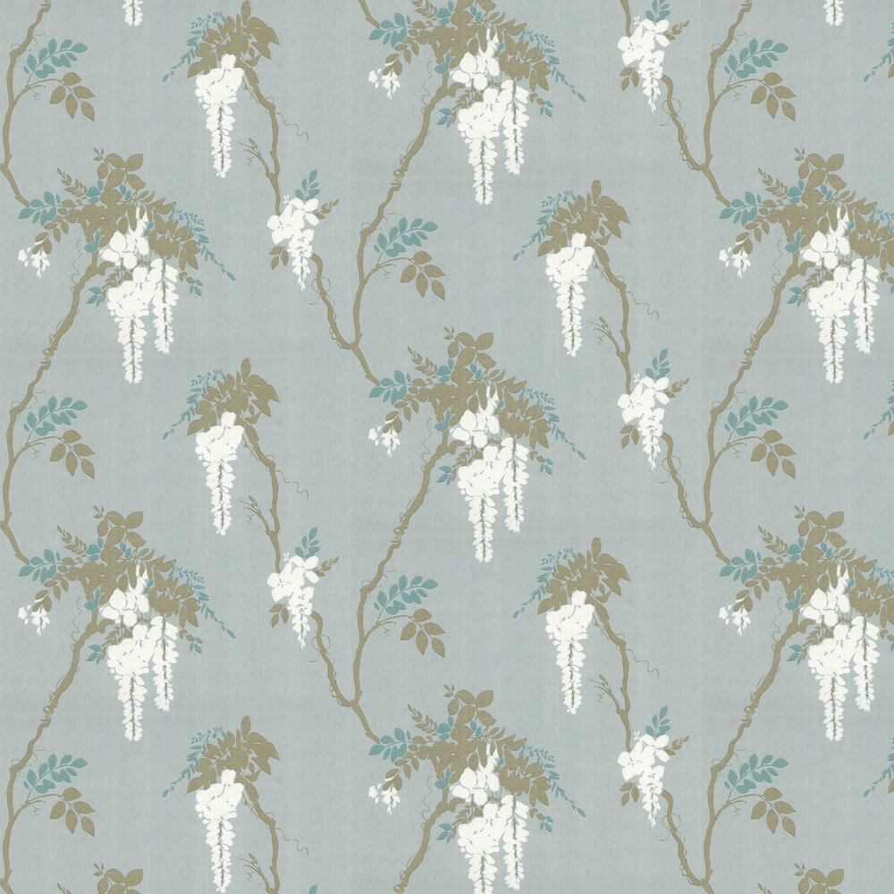 Leonora Wallpaper - Teal - by 1838 Wallcoverings