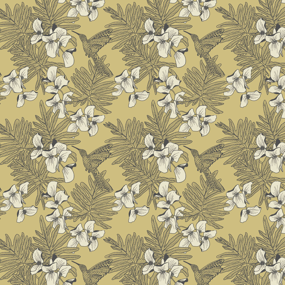 Hummingbird Wallpaper - Mustard - by 1838 Wallcoverings