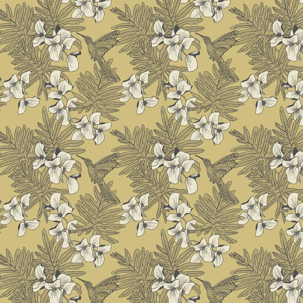 1838 Wallcoverings Hummingbird Mustard Wallpaper - Product code: 1804-117-01