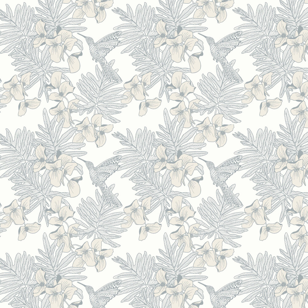Hummingbird Wallpaper - Mist - by 1838 Wallcoverings