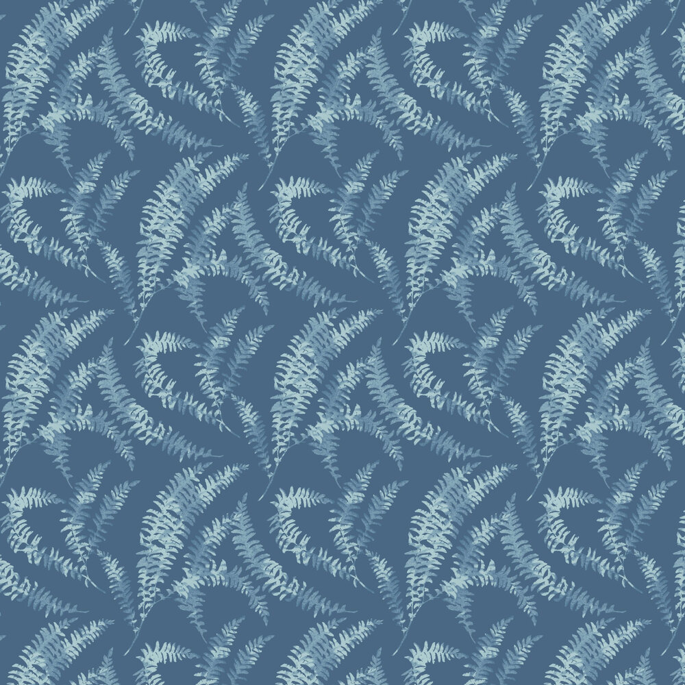 Felci Wallpaper - Azure - by 1838 Wallcoverings