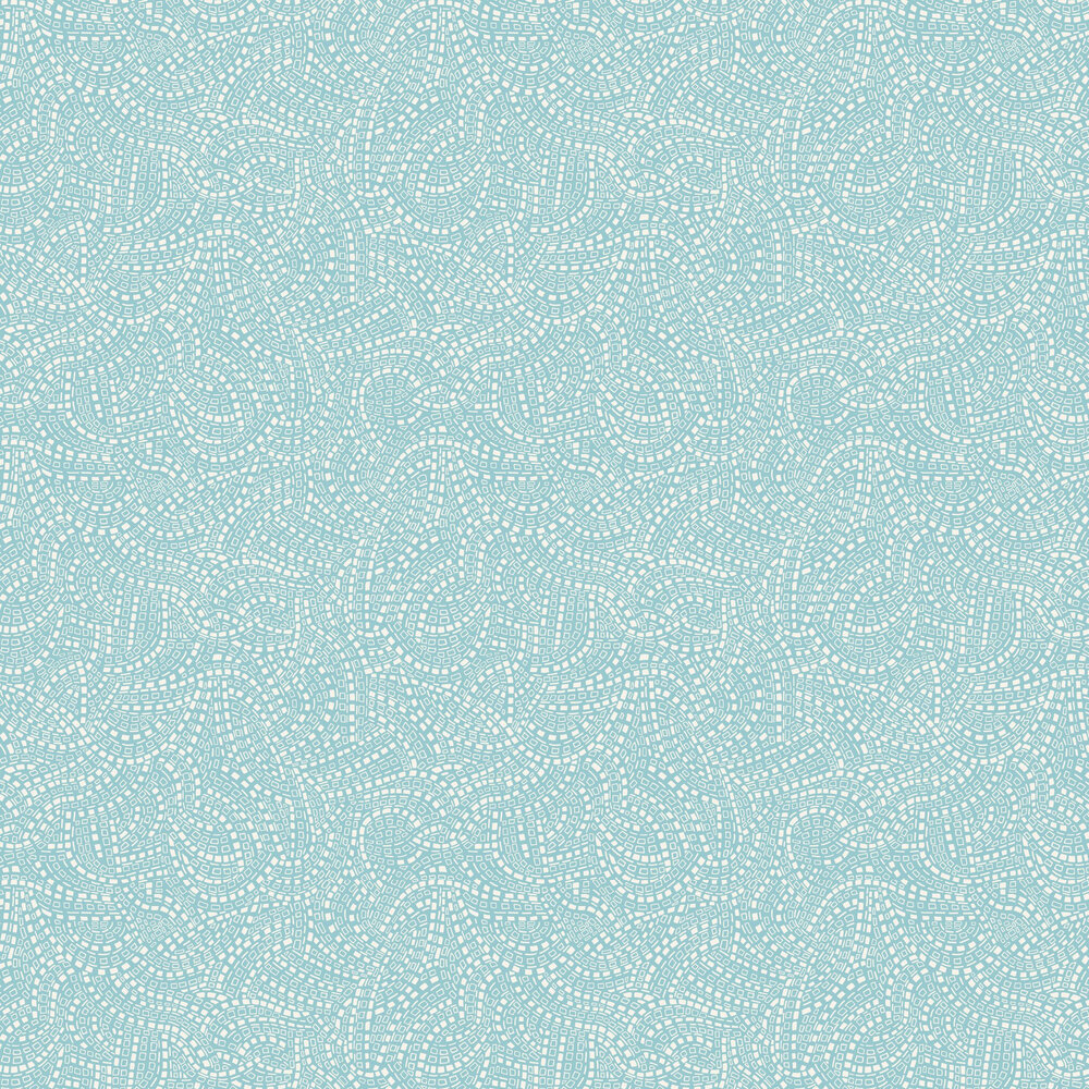 Mosaic Wallpaper - Aquamarine - by 1838 Wallcoverings