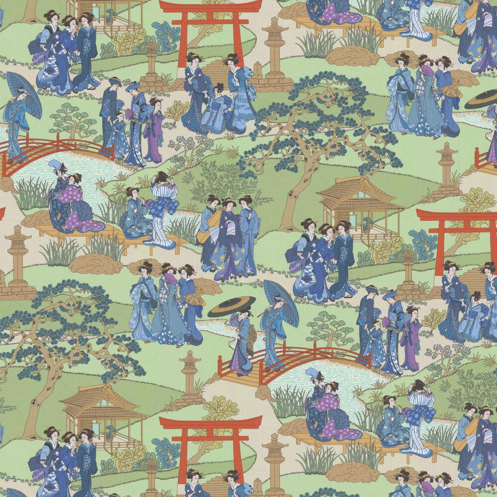Geishas Wallpaper - Indigo - by Manuel Canovas