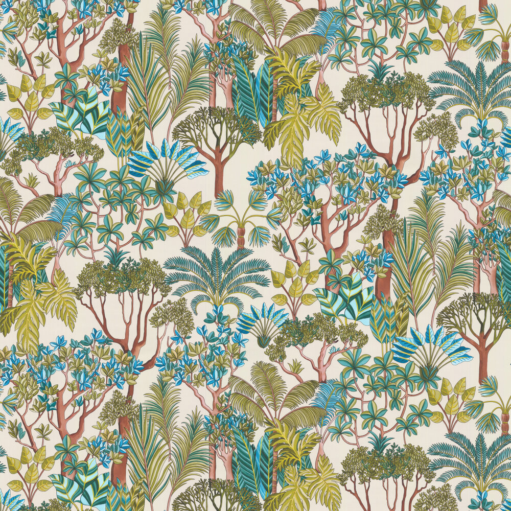Morny Wallpaper - Turquoise - by Manuel Canovas