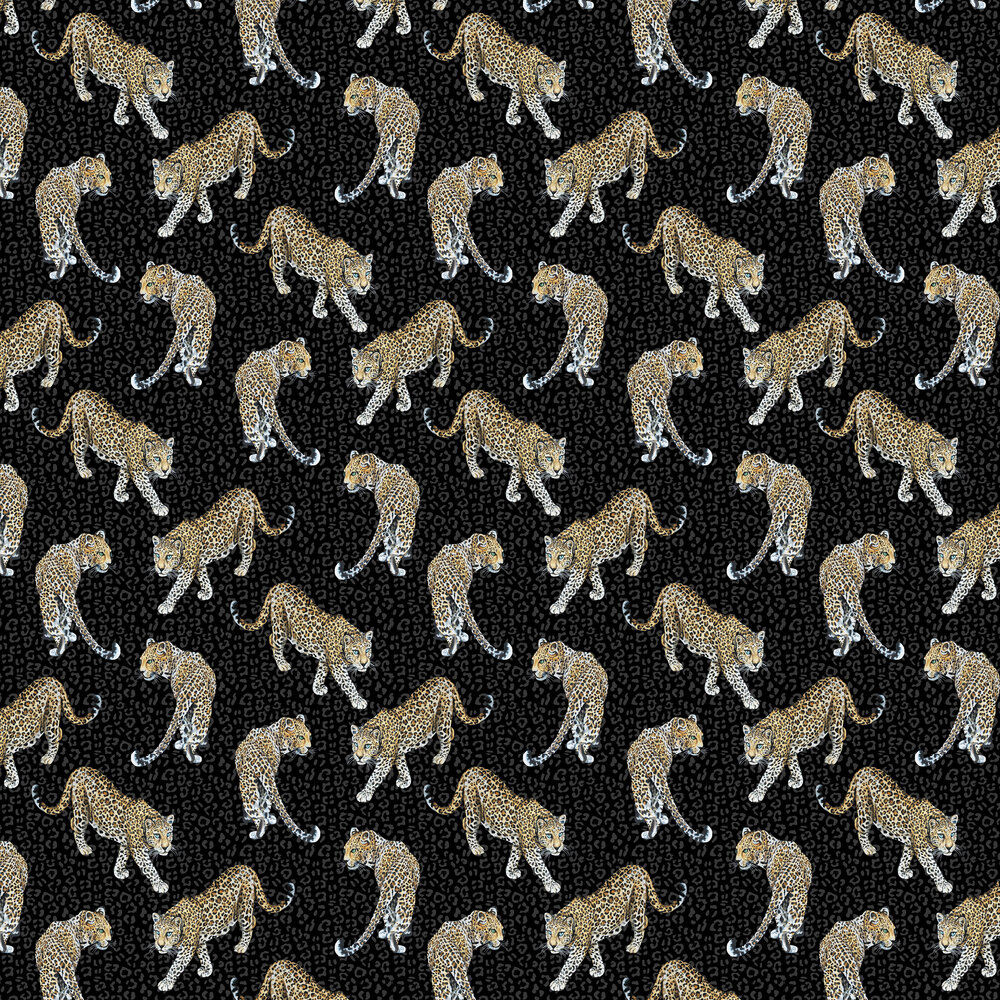 All Over Leopard Wallpaper - Charcoal - by Graduate Collection