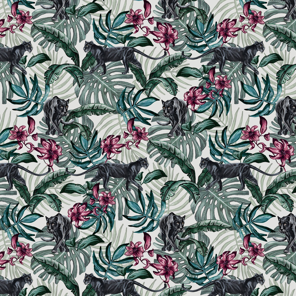 Jungle Panther Wallpaper - Cream - by Graduate Collection