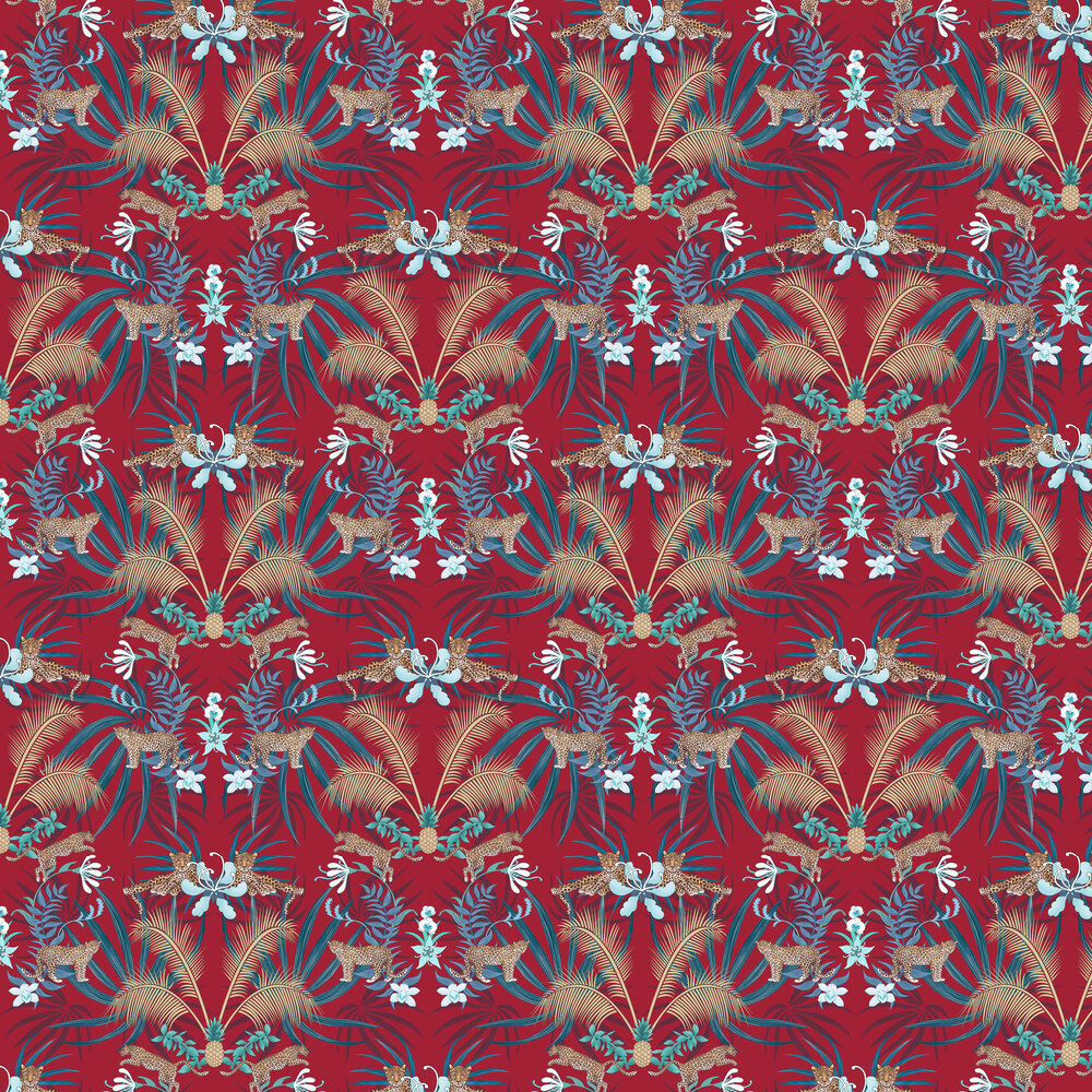Leopard Luxe Wallpaper - Red - by Graduate Collection