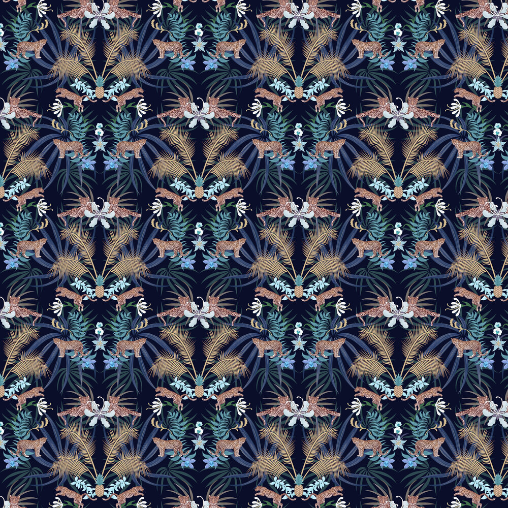 Leopard Luxe Wallpaper - Blue - by Graduate Collection
