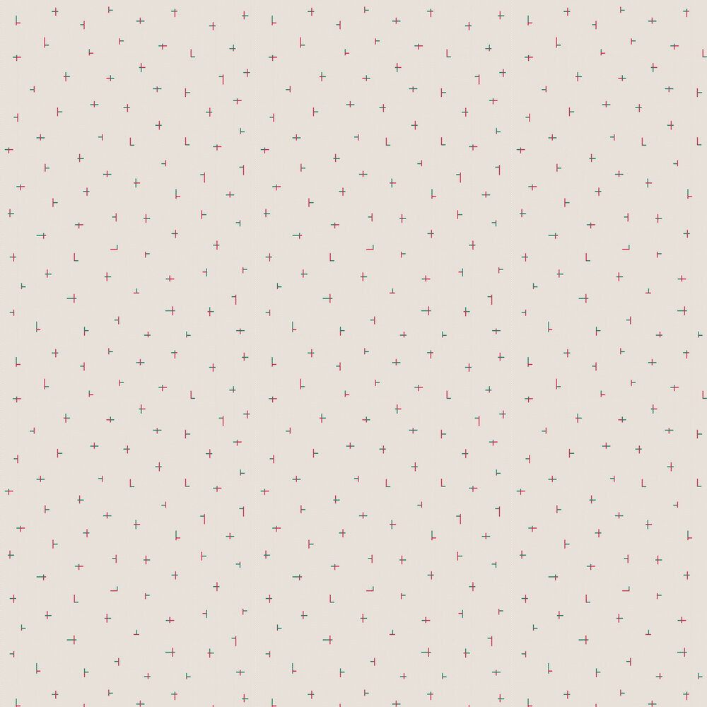 Croci Wallpaper - Beige / Red - by Tres Tintas