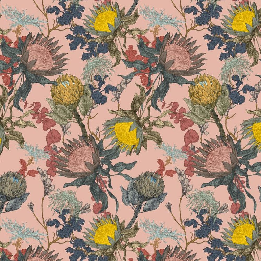 Proteas Dream Wallpaper - Pink - by 17 Patterns