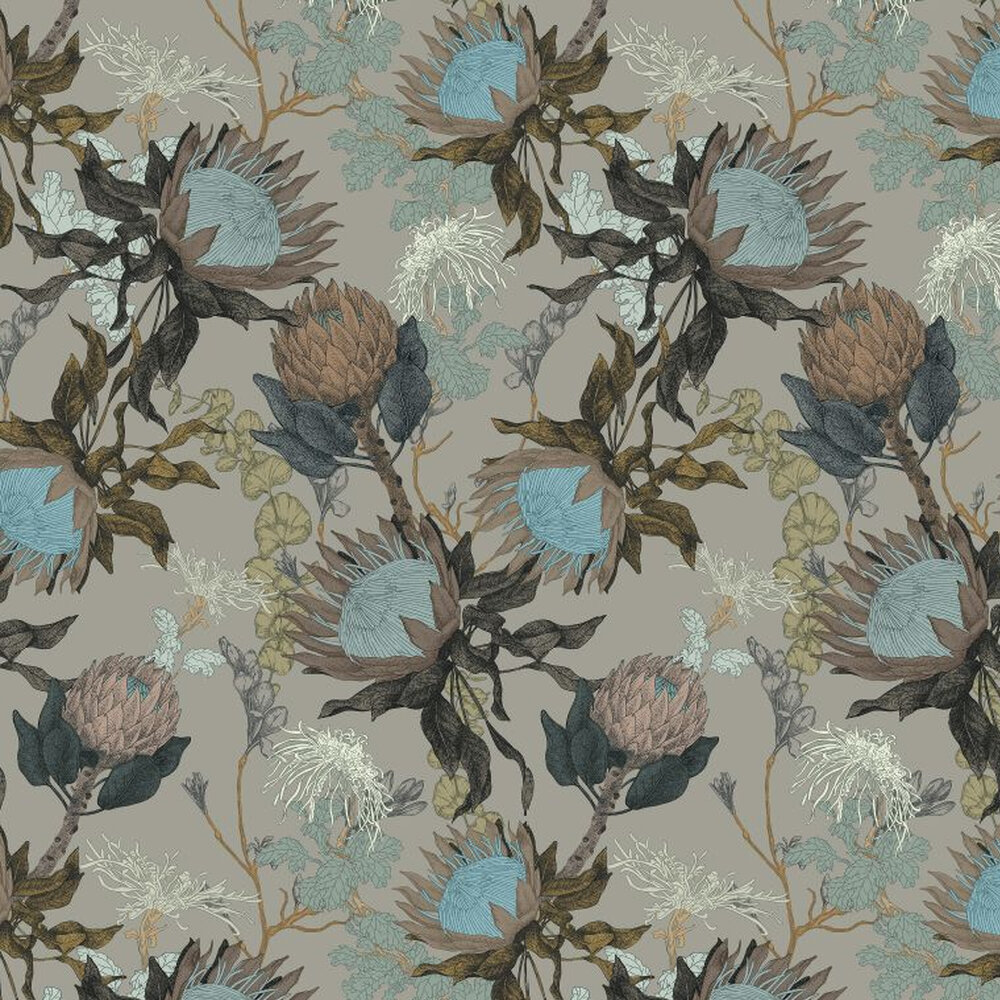 Proteas Dream Wallpaper - Woodland Grey - by 17 Patterns