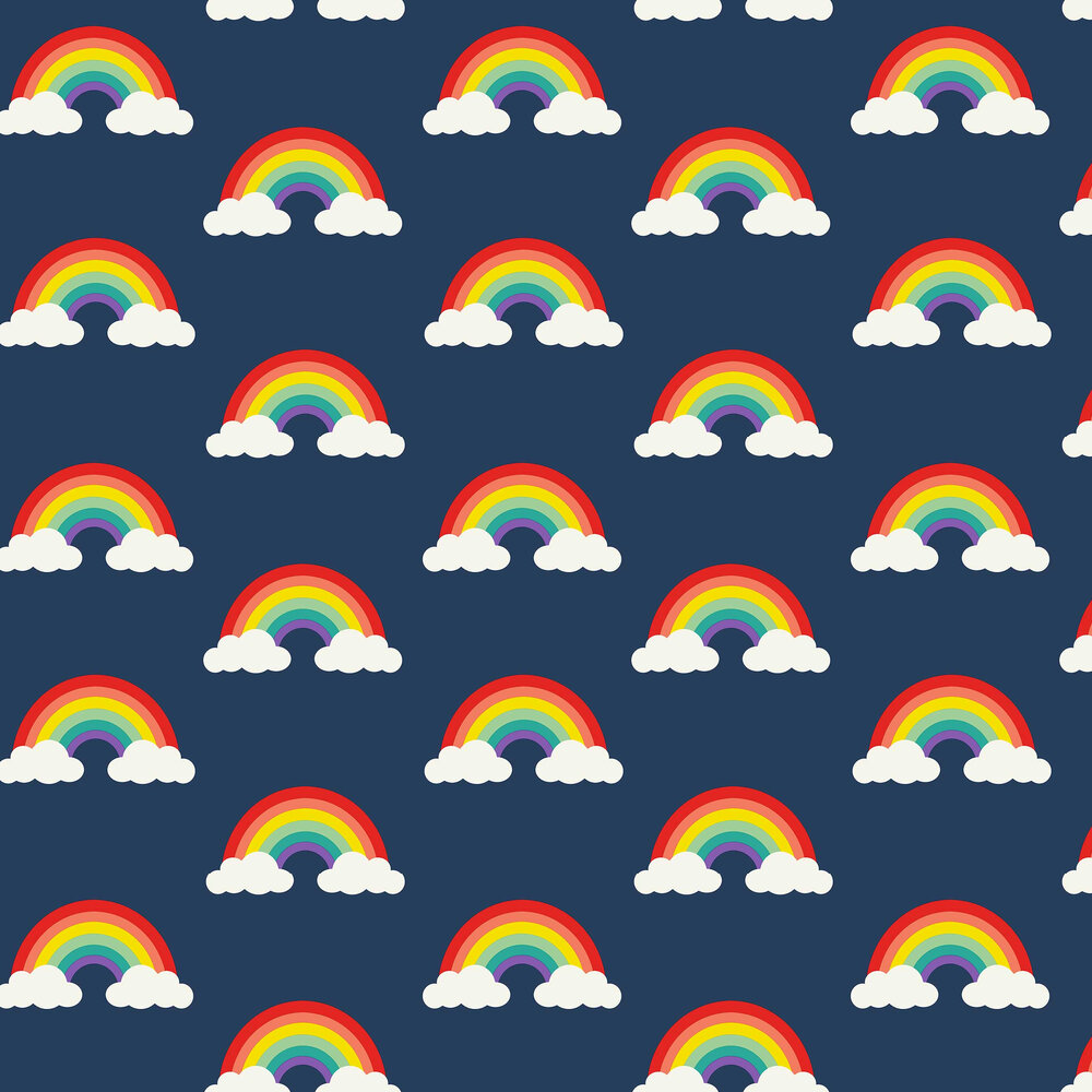 Retro Rainbow Wallpaper - Navy - by Albany