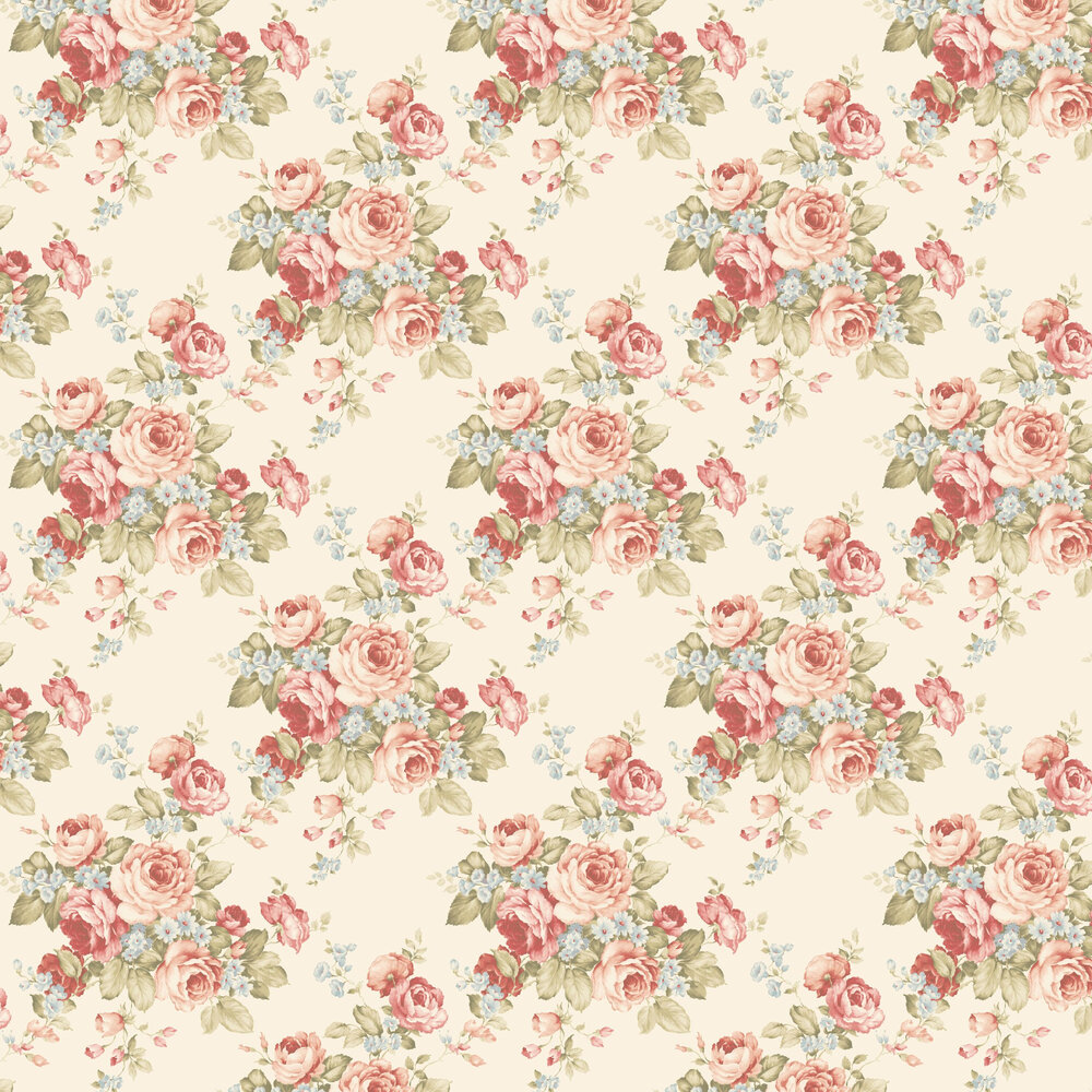Grand Floral Wallpaper - Cream - by Galerie