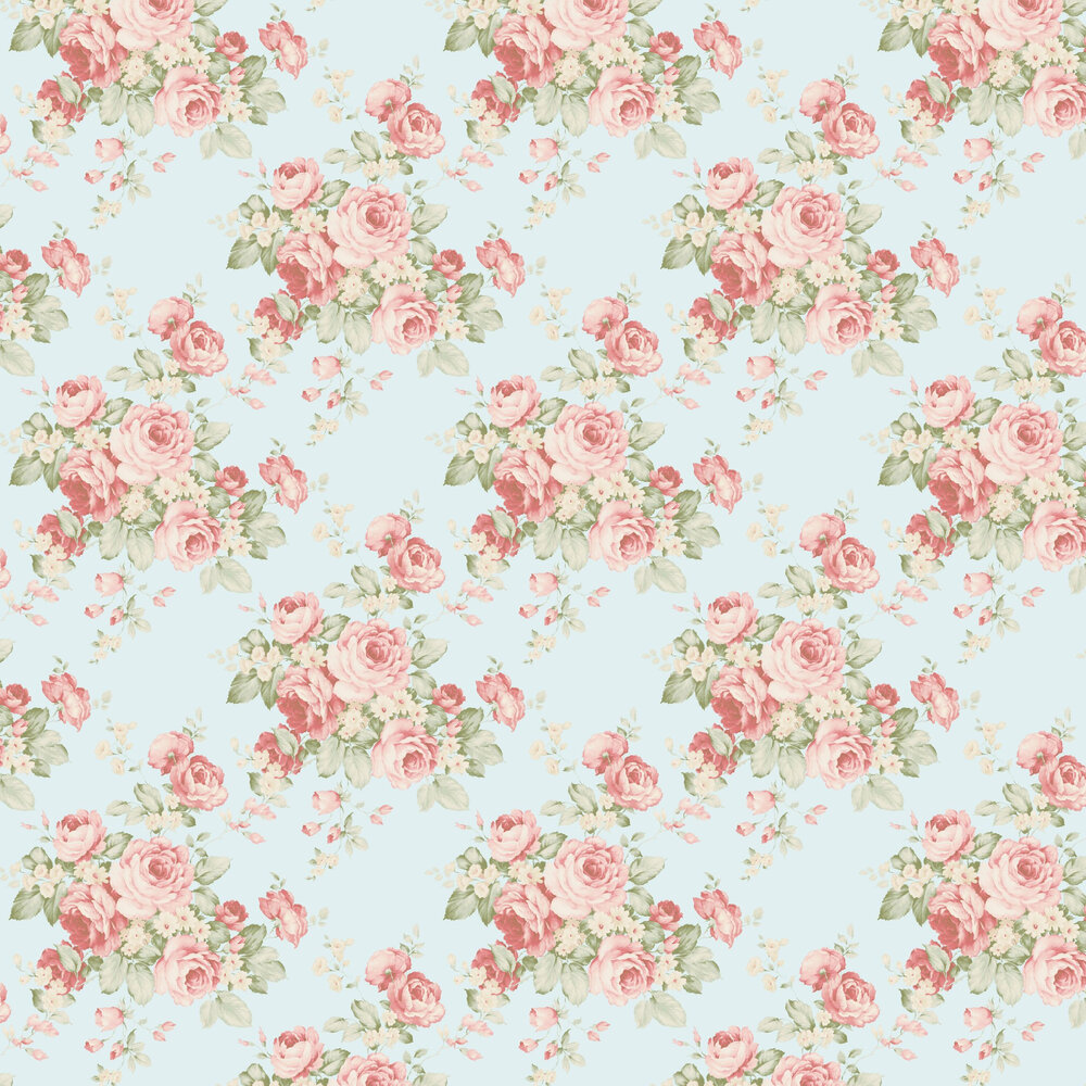 Grand Floral Wallpaper - Pale Blue - by Galerie