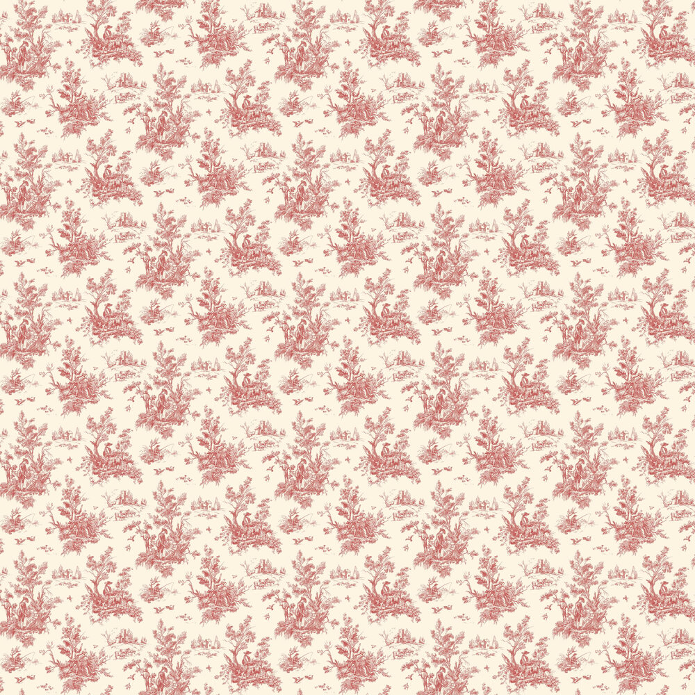 Toile Wallpaper - Maroon - by Galerie
