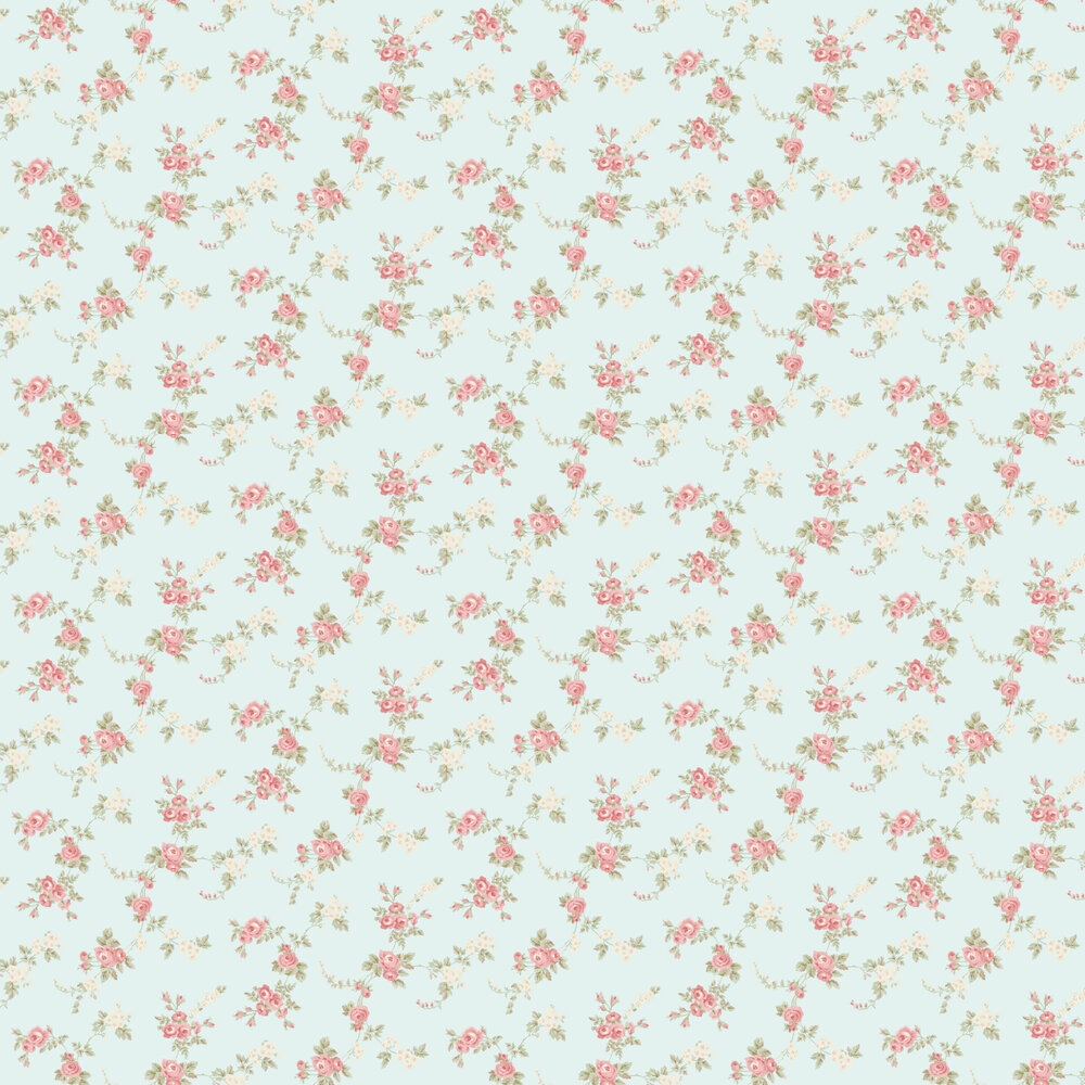 Chic Rose Wallpaper - Pale Blue - by Galerie