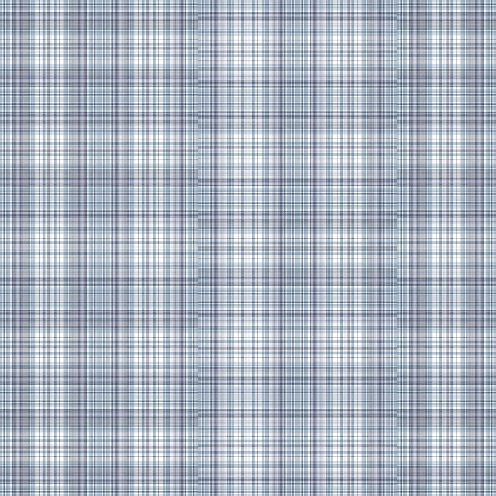 Check Plaid Wallpaper - Blue - by Galerie