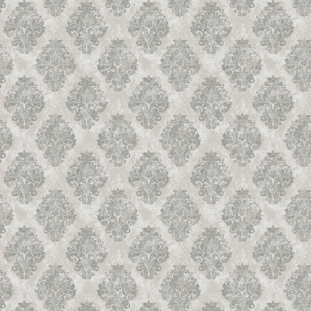 Damask by Galerie - Grey - Wallpaper ...