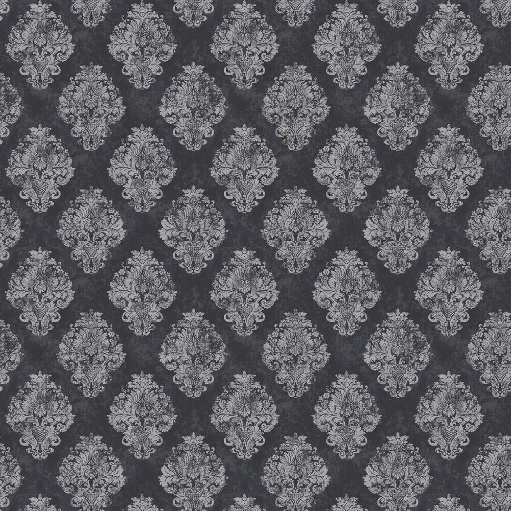 Damask Wallpaper - Charcoal - by Galerie