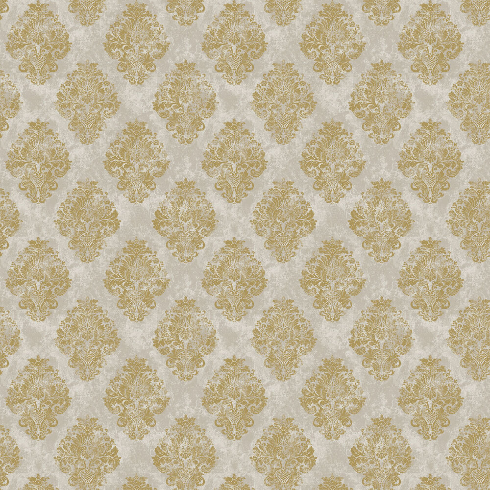 Damask Wallpaper - Gold - by Galerie