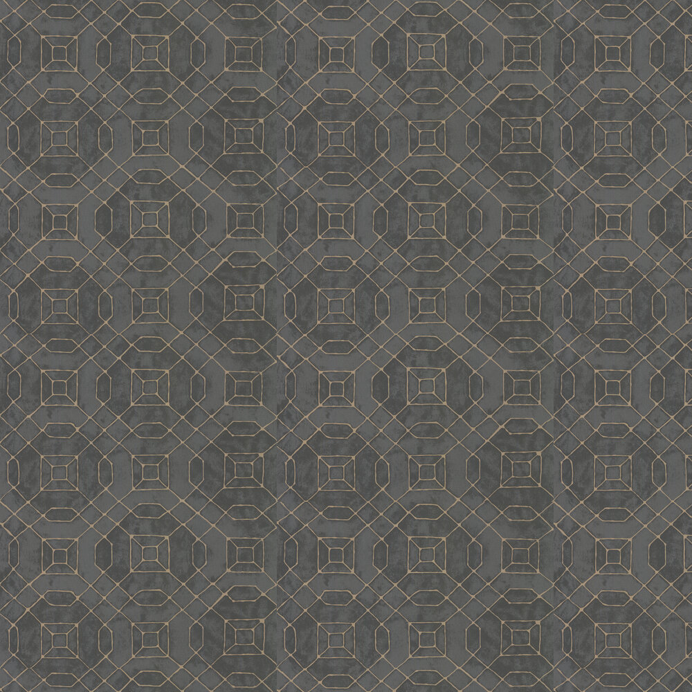 Geo Line Wallpaper - Charcoal - by Galerie