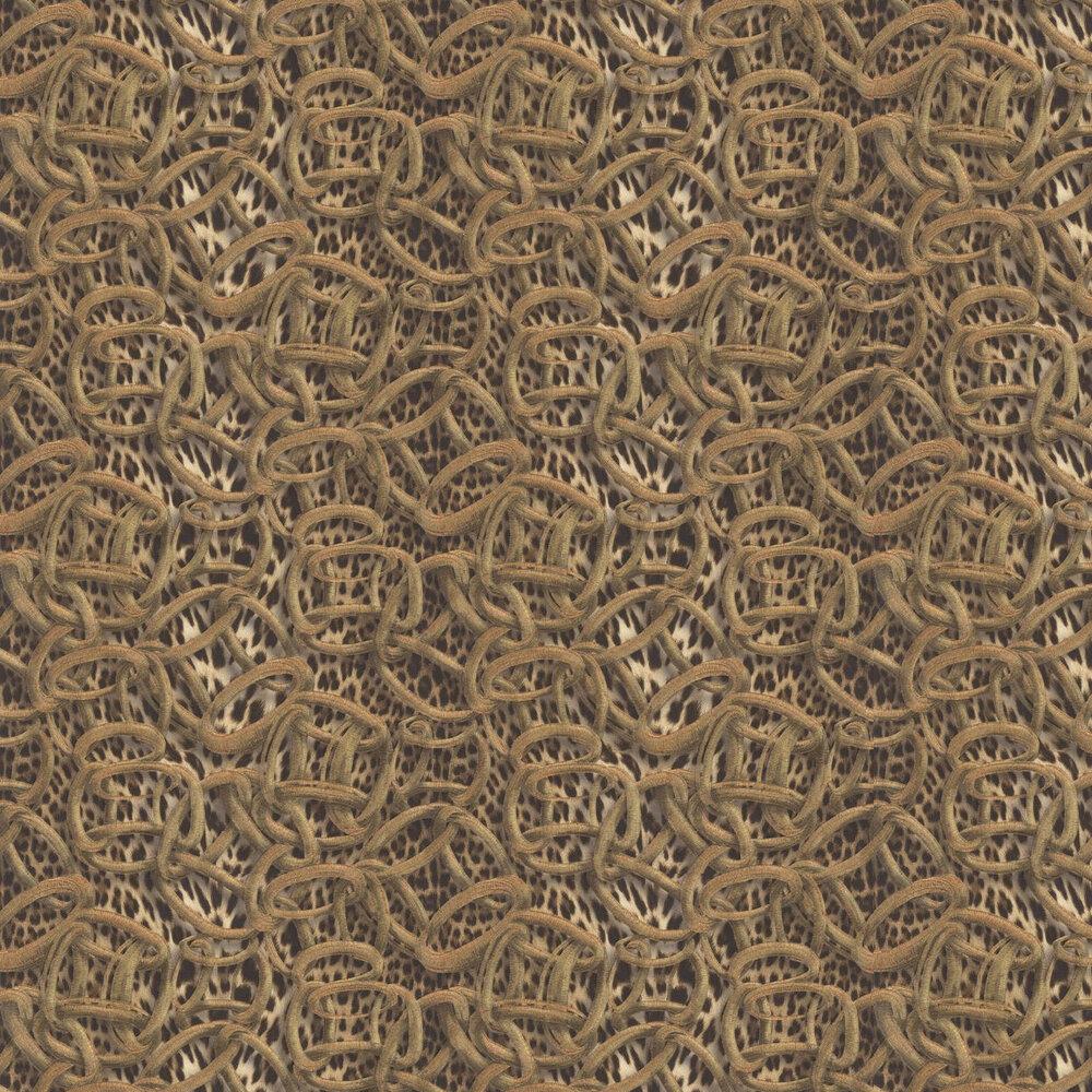 Cerchi Pantera Wallpaper - Brown - by Roberto Cavalli