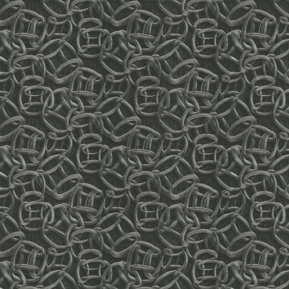 Cerchi Pantera Wallpaper - Noir - by Roberto Cavalli