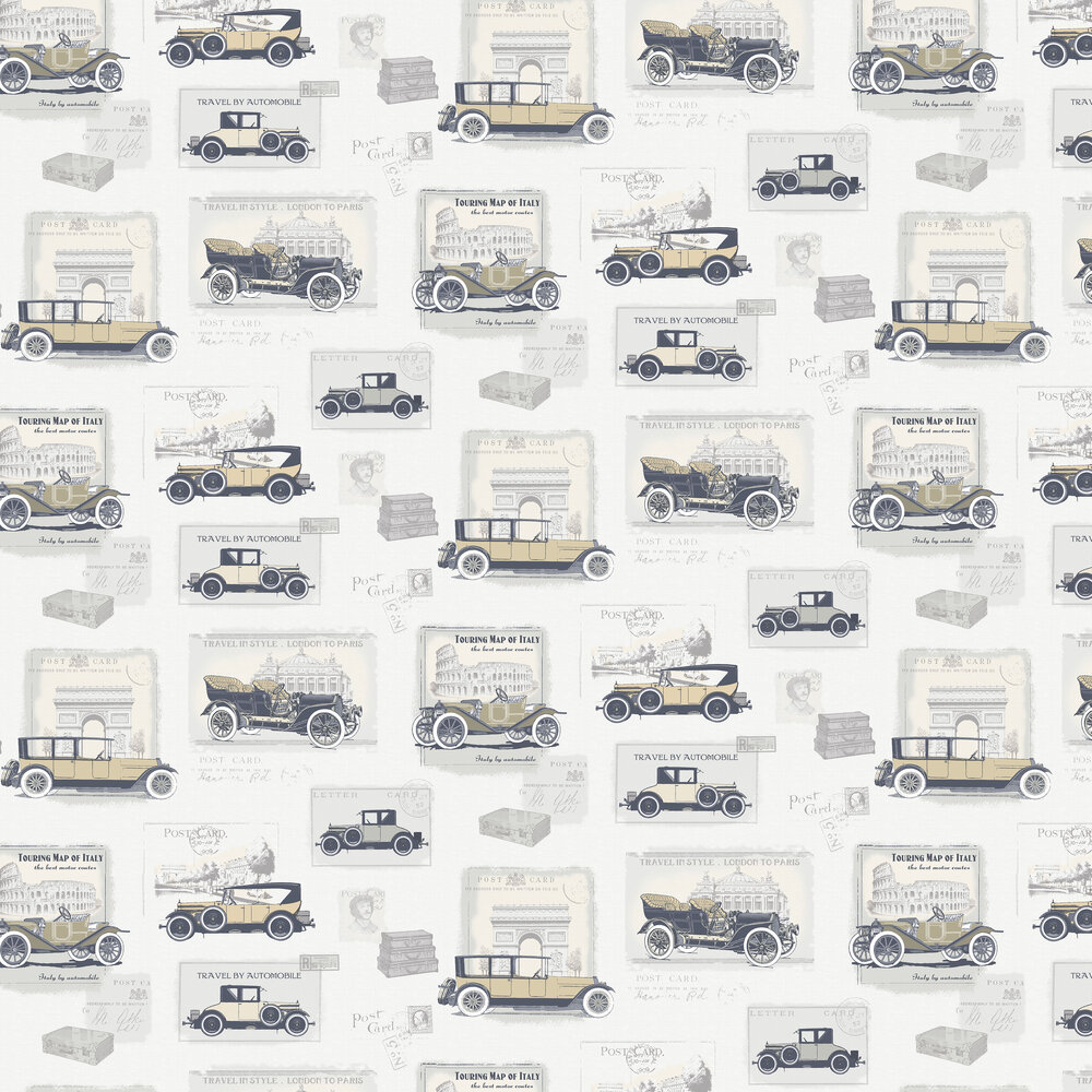 Vintage Cars Wallpaper - Silver / Grey - by Galerie