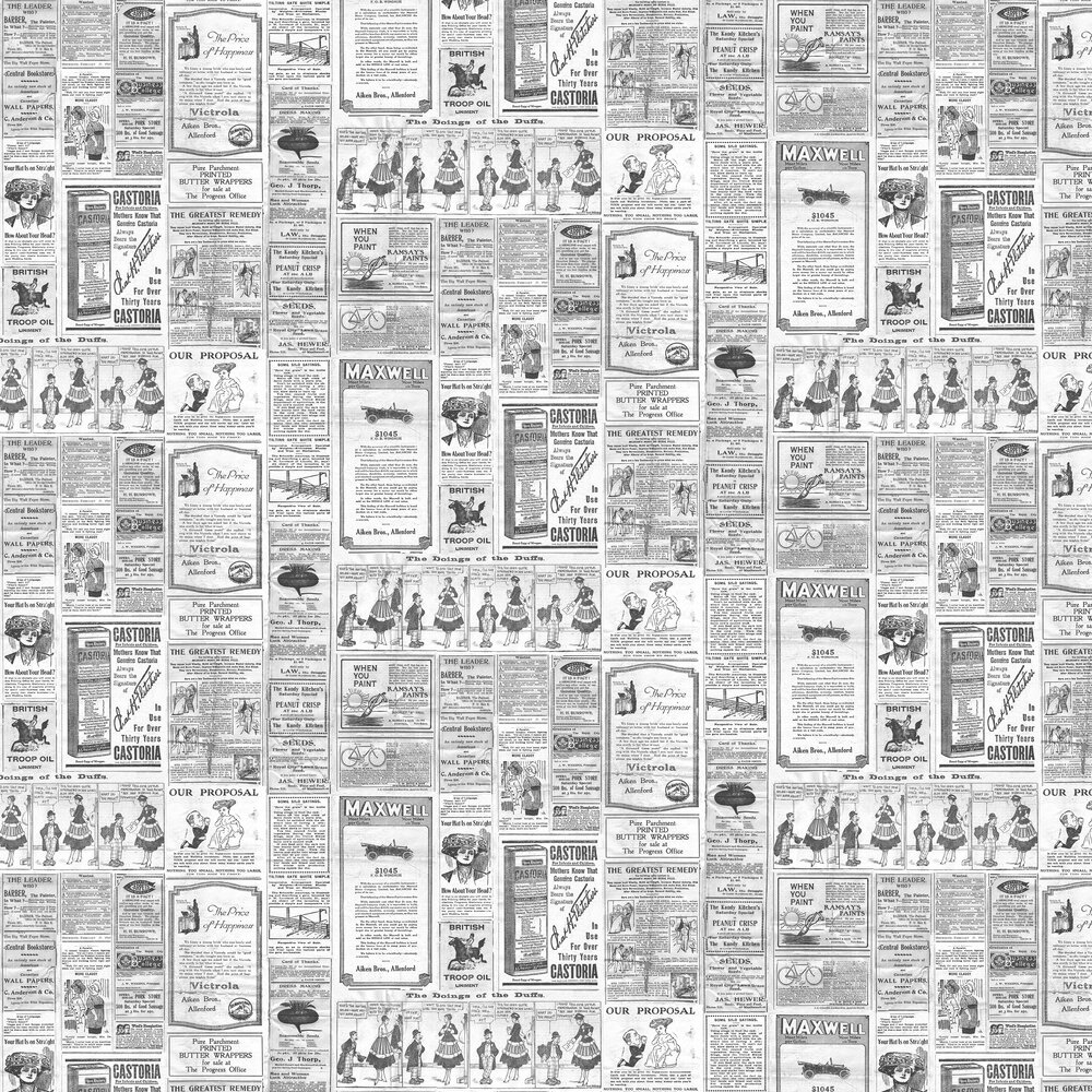 Newspapers Wallpaper - Black / White - by Galerie