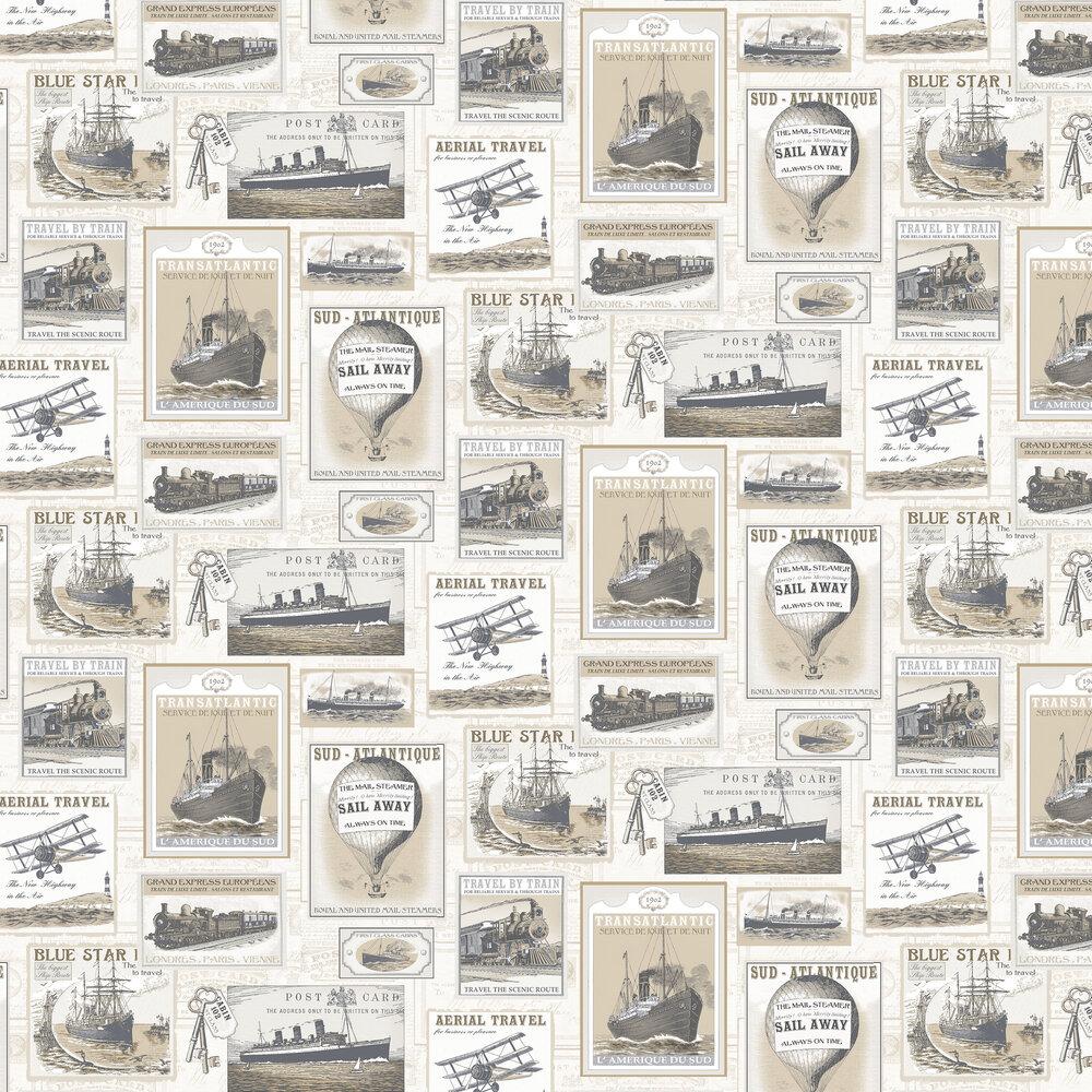 Travel Wallpaper - Beige - by Galerie