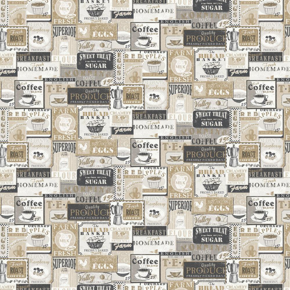 Enamel Signs Wallpaper - Beige - by Galerie